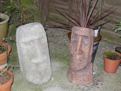 Chris's two Moai (Easter Island head sculptures. ) They're each about 45 Cm high.